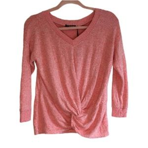 Poof Women V Neck Long Sleeve Twist Knot Cotton Basic Shirt Blouse Top size L